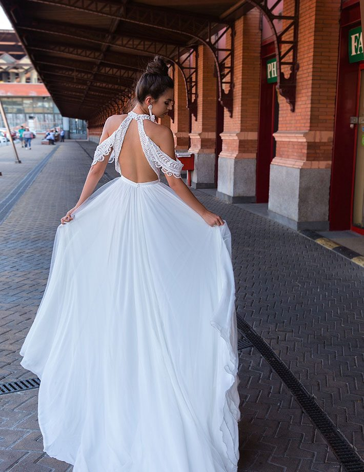 muslin flared wedding dress