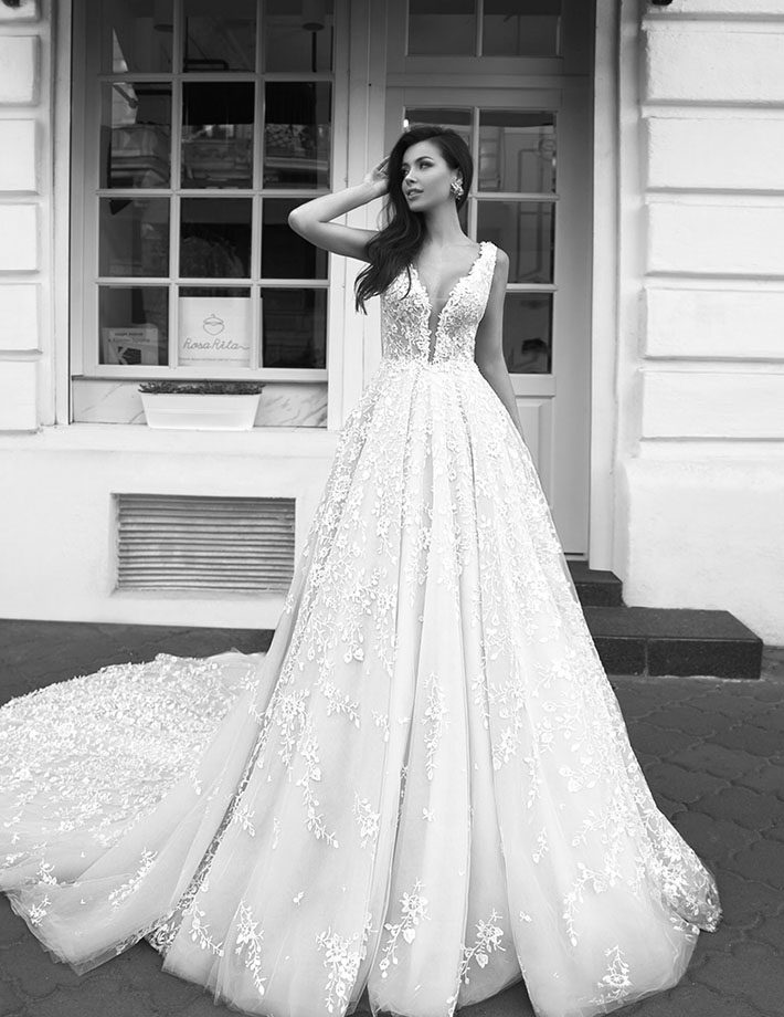 wedding dress with a loose skirt
